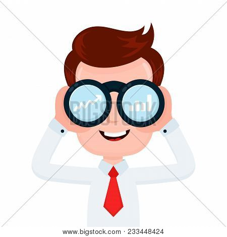 Happy Funny Young Smiling Businessman Looking Through Binocular And See Charts. Vector Flat Cartoon