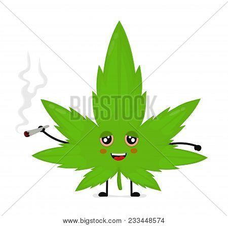 cute funny smiling happy marijuana vector & photo | bigstock