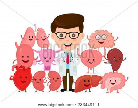 Doctor With Human Internal Organs. Vector Flat Cartoon Character Illustration Icon Design. Isolted O