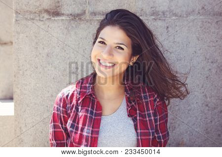 Laughing Caucasian Young Adult Woman Looking At Camera In Vintage Retro Look