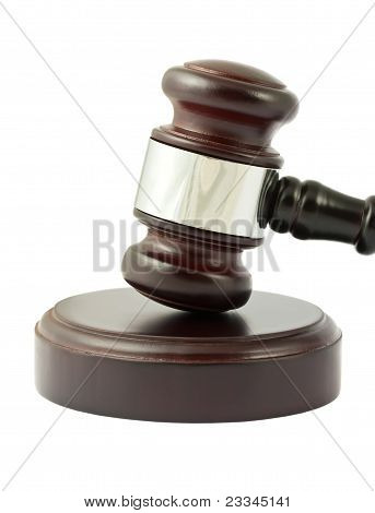 Gavel Closeup On White Background