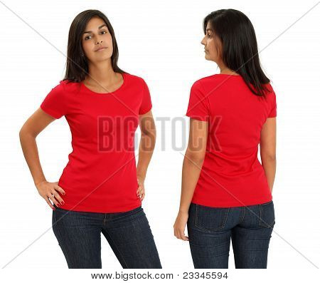Female Wearing Blank Red Shirt