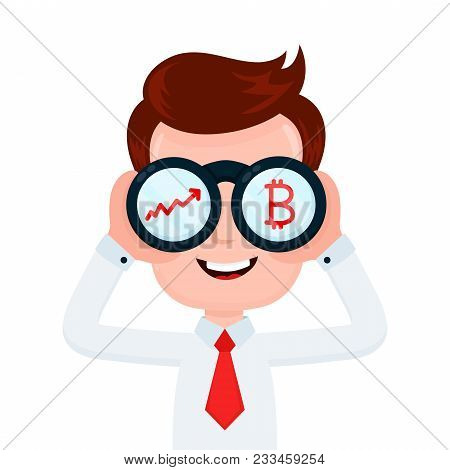 Happy Funny Young Smiling Businessman Looking Through Binocular And See Charts And Bitcoin. Vector F