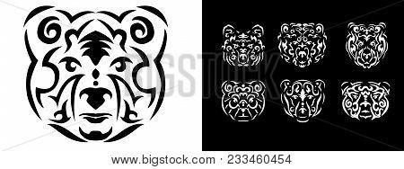 Tribal Bear Set Illustration, Brown Bear In Tribal Style, Ornamental White Line Bear. Animal Tattoo