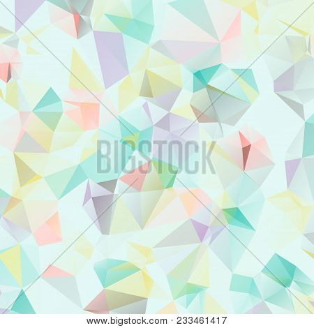 Colorful Tender Geometric Background With Triangles In Pastel Colors.