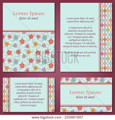 Vector Set Of Hand-drawn Floral Templates With Doodle Flowers, Argyle. Colorful Background With Plac
