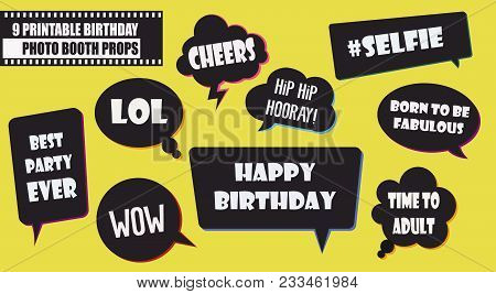 Hipster Photo Booth Props Set Vector Illustration. Collection Of Birthday Party Speech Bubbles. Perf