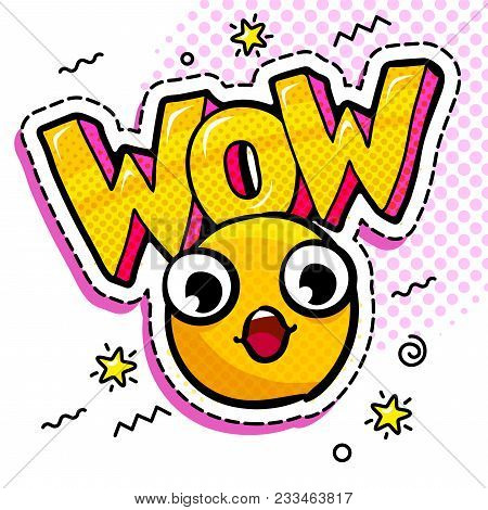 Wow In Comic Speech Bubble With Yellow Wondered Smile On Dots Background. Emoji. Smail In Pop Art St