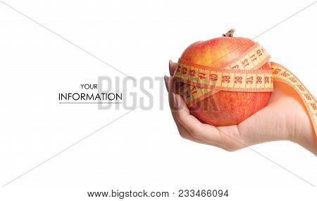 Apple Centimeter In Hand Health Losing Weight Pattern On White Background Isolation