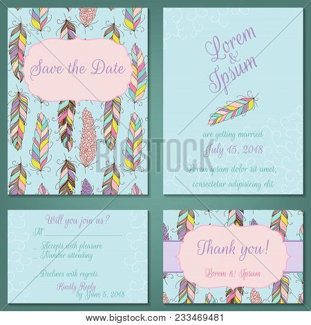 Vector Set Of Pastel Tender Wedding, Baby Shower Invitation, Congratulation Cards. Save The Date, In