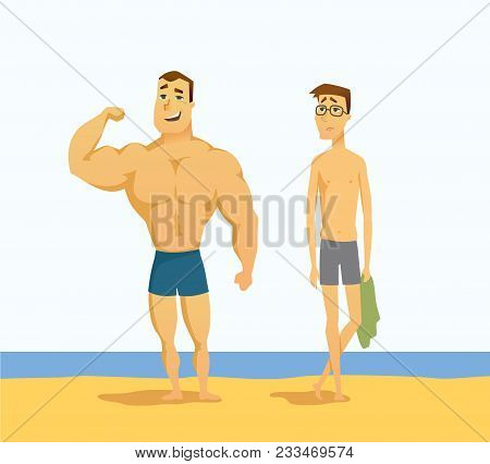 Strong And Weak Men - Cartoon People Character Isolated Illustration On White Background. A Handsome
