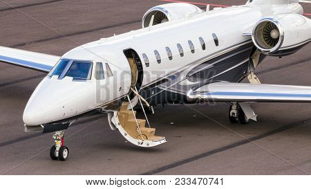 Eindhoven, The Netherlands - Sep 17, 2016: Cessna 680 Citation Sovereign Business Jet On The Tarmac