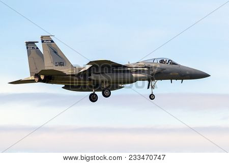 Leeuwarden, Netherlands - Apr 5, 2017: Us Air Force F-15 Eagle Fighter Jet Aircraft Landing During E