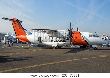 Paris, France - Jun 22, 2017: Aerorescue Dornier 328-110 Search And Rescue Aircraft On Display At Th