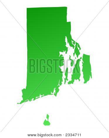 Green Gradient Rhode Island Map, Usa