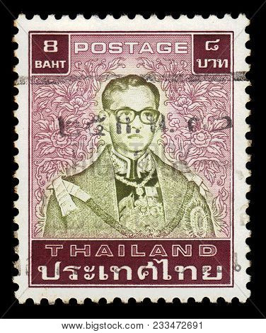 Thailand - Circa 1985: A Stamp Printed In Thailand Shows King Bhumibol Adulyadej, King Of Thailand (