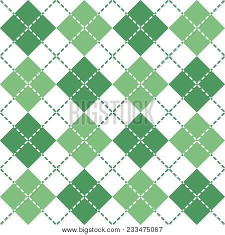 Seamless Argyle Pattern With Dashed Lines In Green And White.