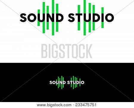 Sound Studio Logo. Sound Emblem. Letters Are Like A Green Equalizer.