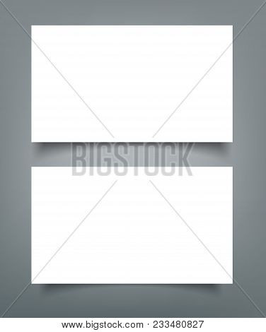 Business Card Blank With Shadow Mockup Cover Template.