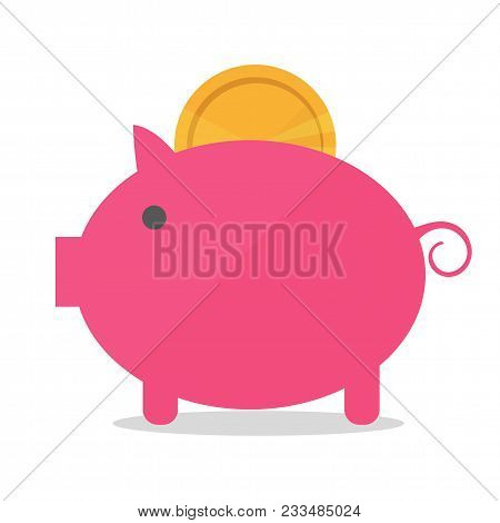 Pig Piggy Bank With Coin Vector Illustration In Flat Style. The Concept Of Saving Or Save Money Or O