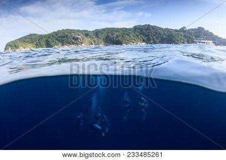 Scuba dive half and half over under