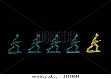 Soldiers Marching To Different Leader.
