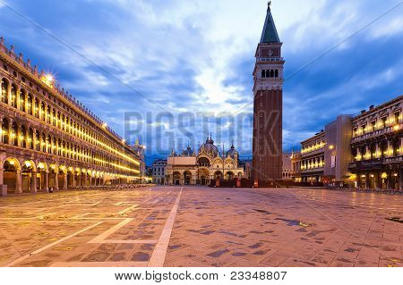 Piazza San Marco And Campanile At Dawn