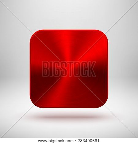 Red Metal Blank App Icon, Technology Button Template With Circular Brushed Texture, Chrome, Steel, C