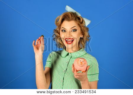 Bankruptcy And Handout, Family Budget. Crisis And Loan, Credit, Retro Woman. Retro Woman Hold Moneyb