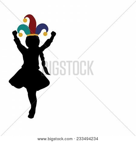 Silhouette Girl Happy April 1. Day Fools. Day Laughter. Vector Illustration