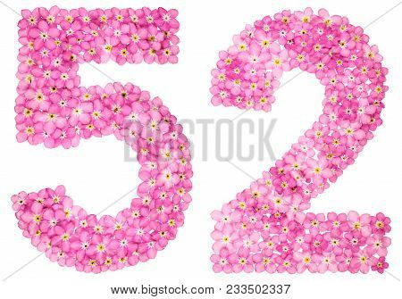 Arabic Numeral 52, Fifty Two, From Pink Forget-me-not Flowers, Isolated On White Background