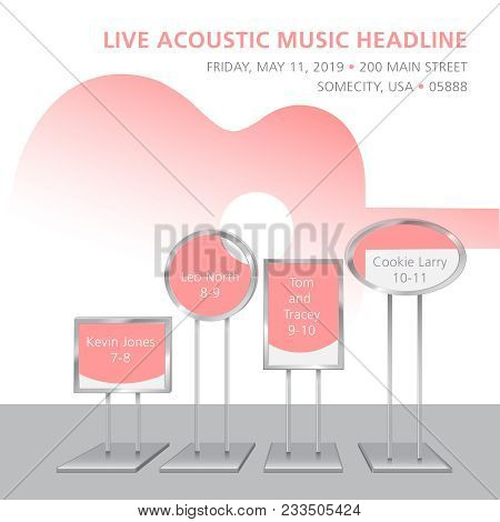 Cool Live Acoustic Guitar Show Graphic With Space For Text In Event Signs. Use As Guitar Event Desig