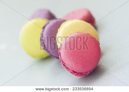 Several Colorful Macaroons, French Sweet Delicacy Close-up, Selectiv Focus
