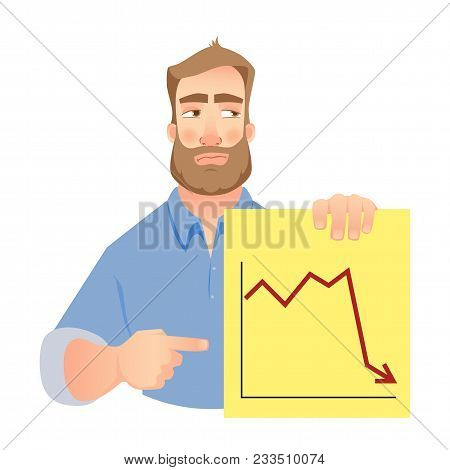 Man Holding Graph Illustration. Unhappy Businessman Points To Graph