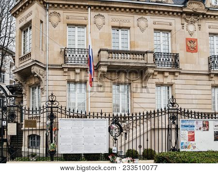 Strasbourg, France - Mar 28, 2018: Facade Of Russian Consulate Embassy With Half-mast Flag Mourning