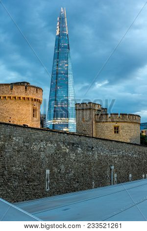 London, England - June 15, 2016: Night Panorama With Tower Of London And The Shard, London, England,
