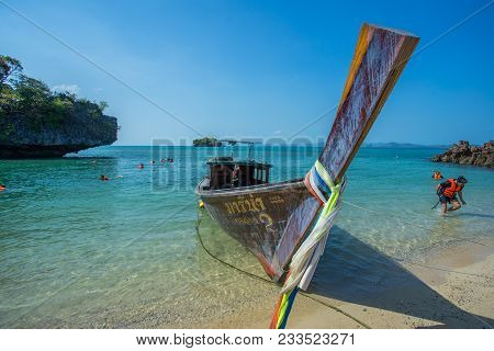 Krabi Thailand 3 Feb 2018: Longtail Boats Anchored At The Island In Krabi Province Thailand. Phi Phi
