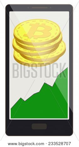 Bitcoin Coins With Growth Graph On A Phone Screen,crypto Currensy With Diagram In The Phone, Bitcoin
