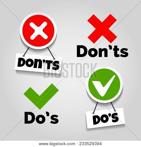 Do And Dont Icons. Doing Recommendation And Mistake Color Signs With Text Box For Guidelines, Tests