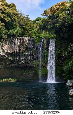Cheonjiyeon Waterfall In Seogwipo-si, Jeju Island.