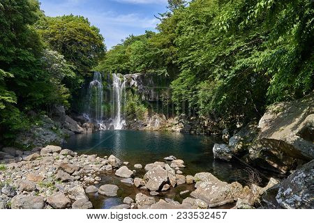 Cheonjeyeon 2nd Waterfall. Cheonjeyeon Is A Three-tier Waterfall, Which Is One Of The Most Famous Fa