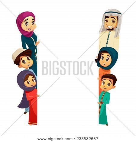 Vector Cartoon Arab Khaliji Family Characters Peeping From Behind Empty Blank Space White Paper Musl