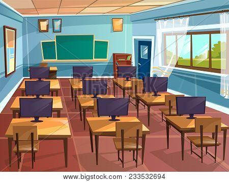 Vector Cartoon Empty High School College University Computer Science Classroom Background. Illustrat