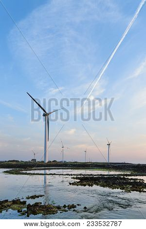 Sinchang Windmill Coast Is Famous For Driving Course Because Of Its Beautiful Natural Scenery With W