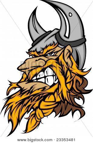 Viking Norseman Head with Helmet Graphic Mascot Vector Image poster