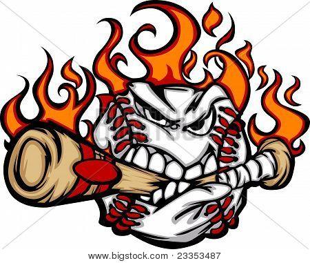 Baseball Flaming Face Biting Bat