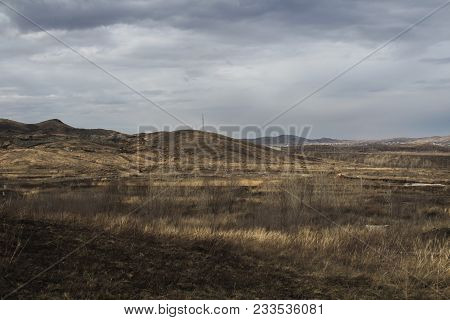 Steppe landscape. Natural background. Steppe horizon. Grunge nature landscape. Steppe. Spring landscape. Grunge nature. Grunge landscape.