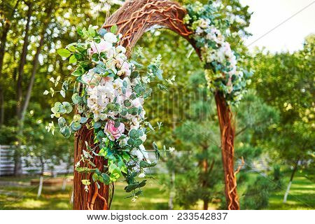 Beautiful Pink And White Flowers And Greenery On Wedding Arch Prepared For Wedding Ceremony Outroods