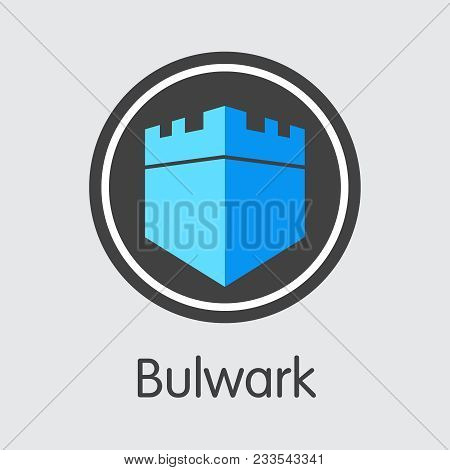 Bulwark. Virtual Currency. Bwk Element Isolated On Grey Background. Stock Vector Coin Image.