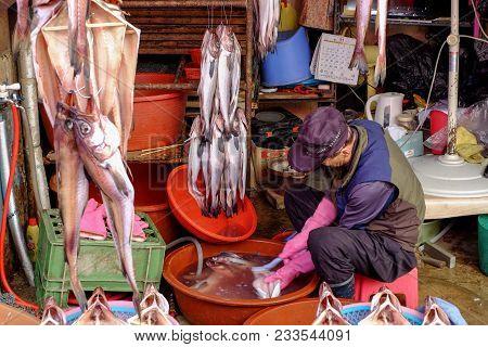 Jagalchi Fish Market, Busan South Korea 3 November 2017 :jagalchi Fish Market Is A Representative Fi